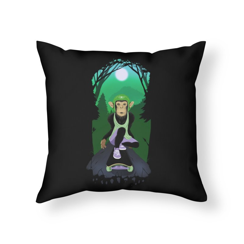 Downhill chimp Home Throw Pillow by ETIENNE LAURENT