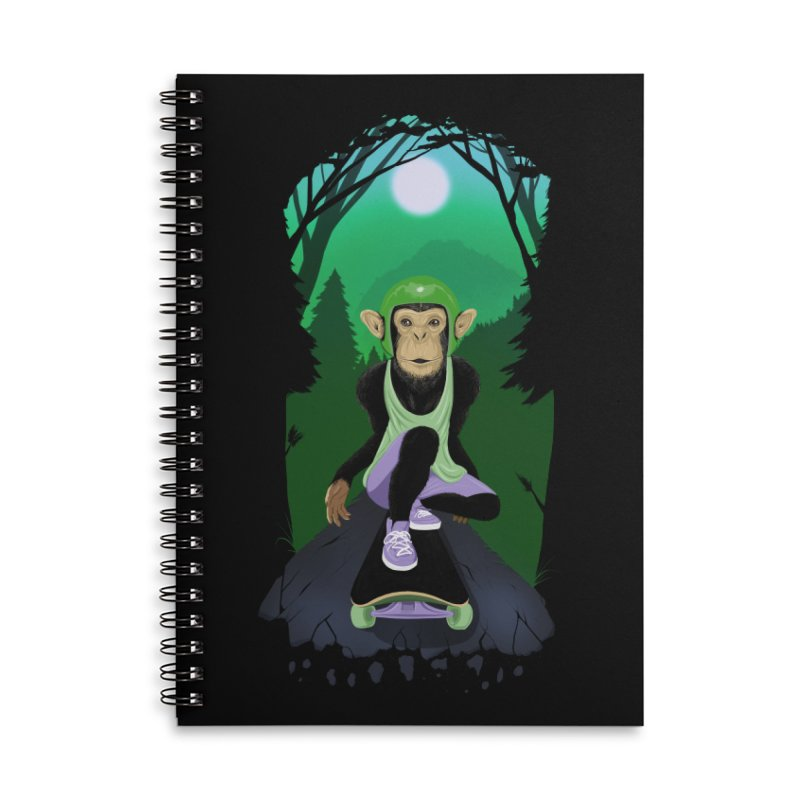 Downhill chimp Accessories Lined Spiral Notebook by ETIENNE LAURENT