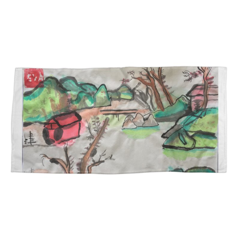 Scenery (Chinese calligraphy) Accessories Beach Towel by Eva's Doodle & Paintings