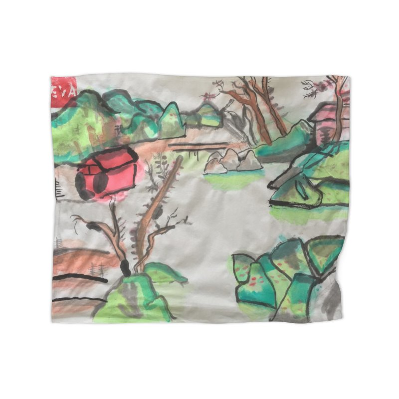 Scenery (Chinese calligraphy) Home Blanket by Eva's Doodle & Paintings
