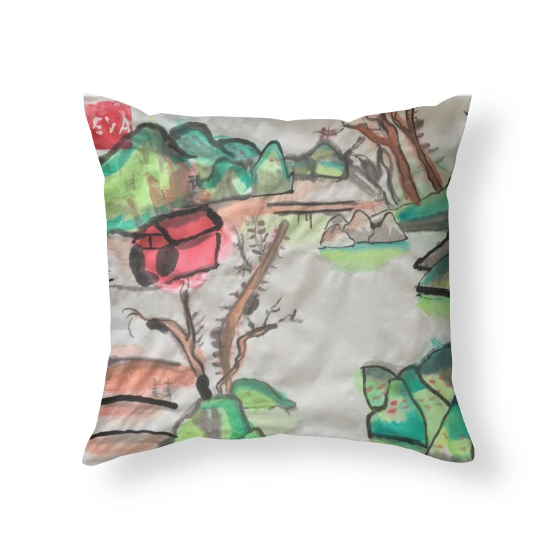 Scenery (Chinese calligraphy) Home Throw Pillow by Eva's Doodle & Paintings