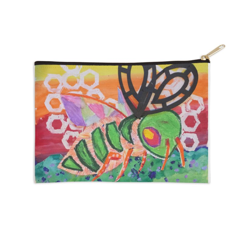 Bee Natural Accessories Zip Pouch by Eva's Doodle & Paintings