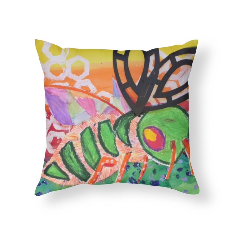 Bee Natural Home Throw Pillow by Eva's Doodle & Paintings