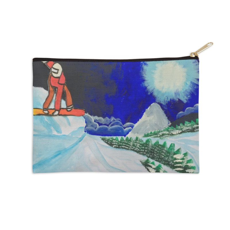 Solo Ski Accessories Zip Pouch by Eva's Doodle & Paintings