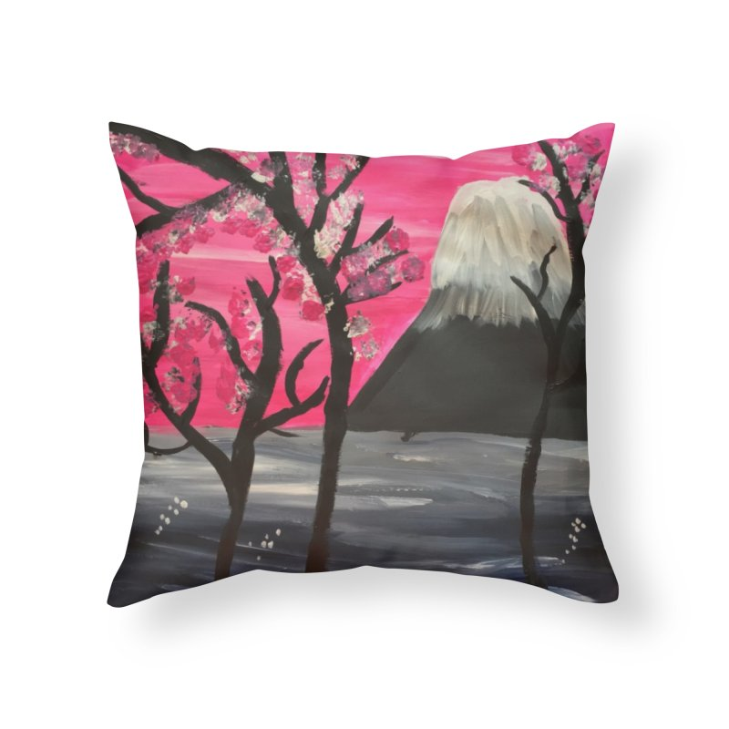 Mount Fuji Home Throw Pillow by Eva's Doodle & Paintings