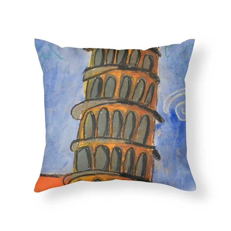 Leaning Tower Home Throw Pillow by Eva's Doodle & Paintings