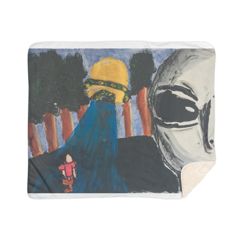 Alien Abduction Home Sherpa Blanket Blanket by Eva's Doodle & Paintings
