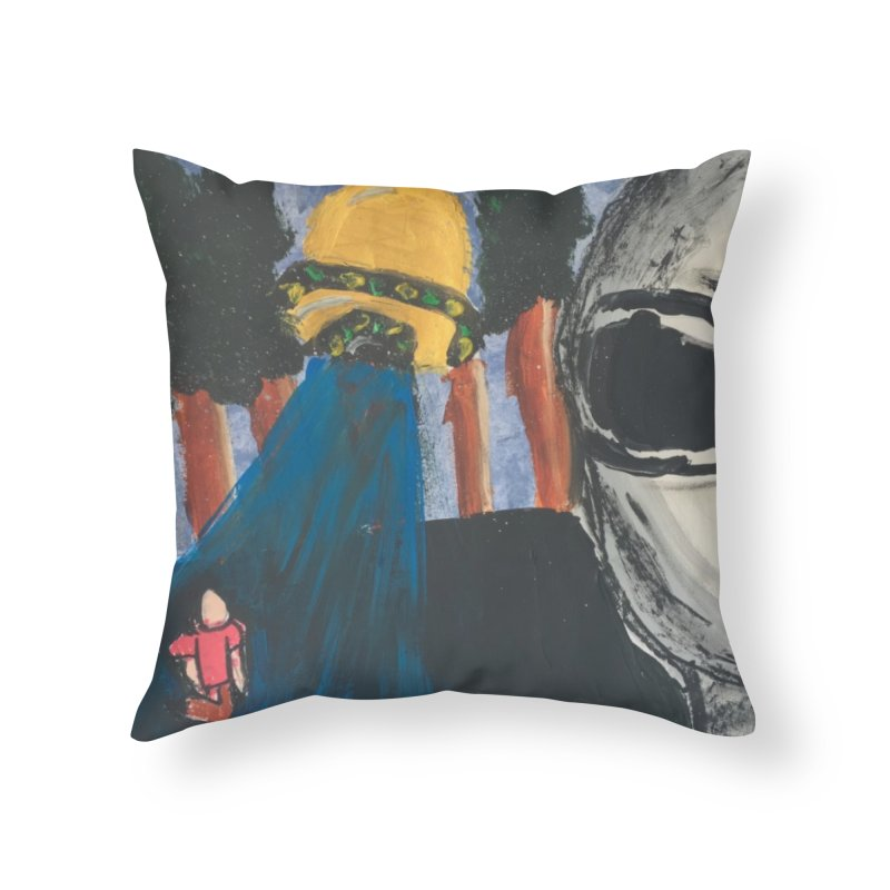 Alien Abduction Home Throw Pillow by Eva's Doodle & Paintings