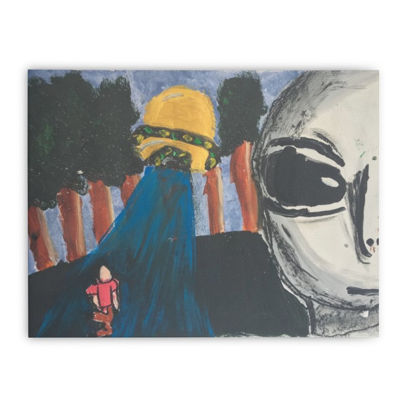 Alien Abduction Home Stretched Canvas by Eva's Doodle & Paintings
