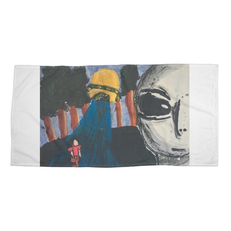 Alien Abduction Accessories Beach Towel by Eva's Doodle & Paintings