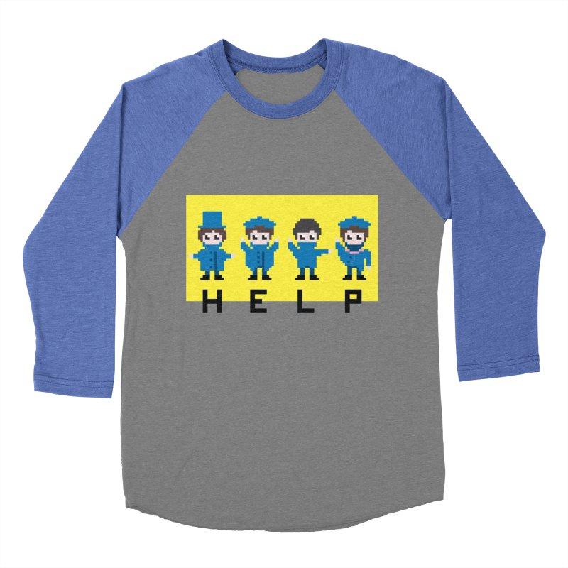 Help! Men's Baseball Triblend Longsleeve T-Shirt by Eu era pop - 8-bit pop culture :)