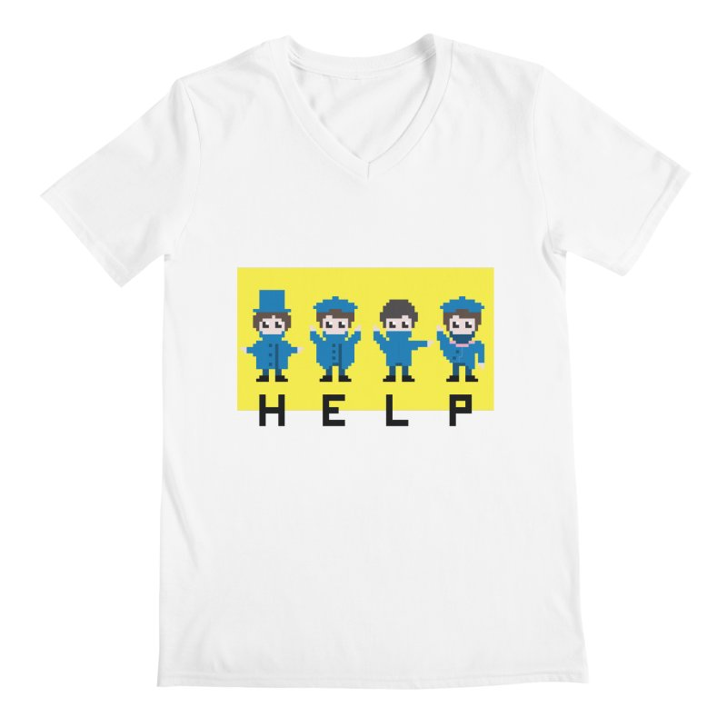 Help! Men's V-Neck by Eu era pop - 8-bit pop culture :)