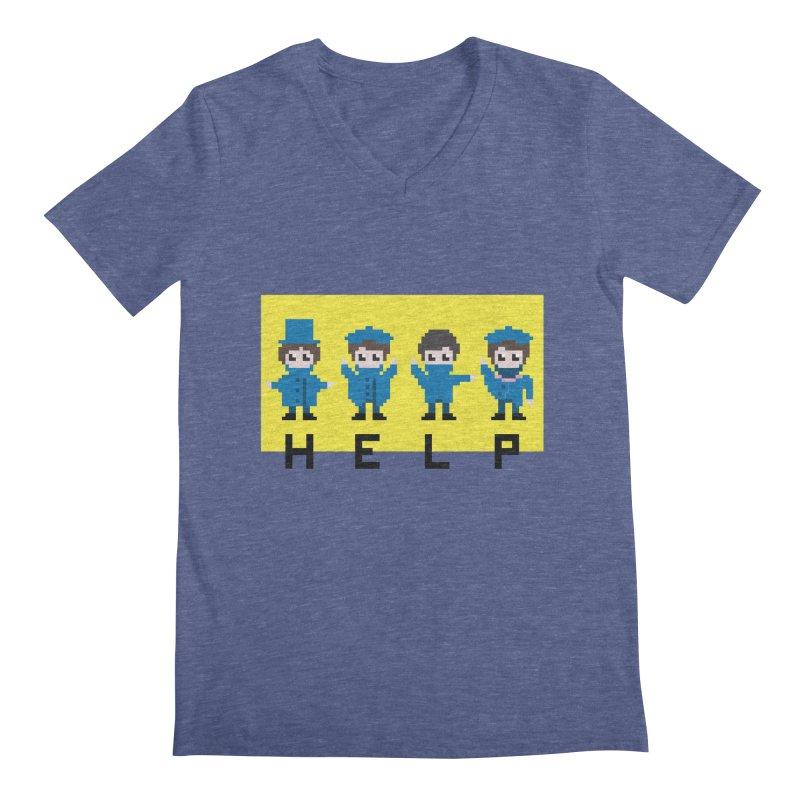Help! Men's V-Neck by Eu era pop - 8-bit pop culture :)