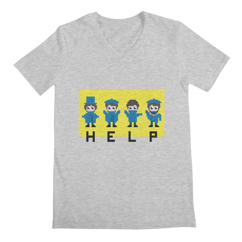 Help! Men's Regular V-Neck by Eu era pop - 8-bit pop culture :)