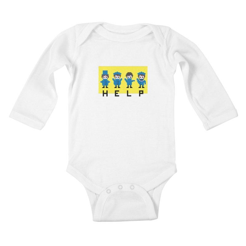 Help! Kids Baby Longsleeve Bodysuit by Eu era pop - 8-bit pop culture :)