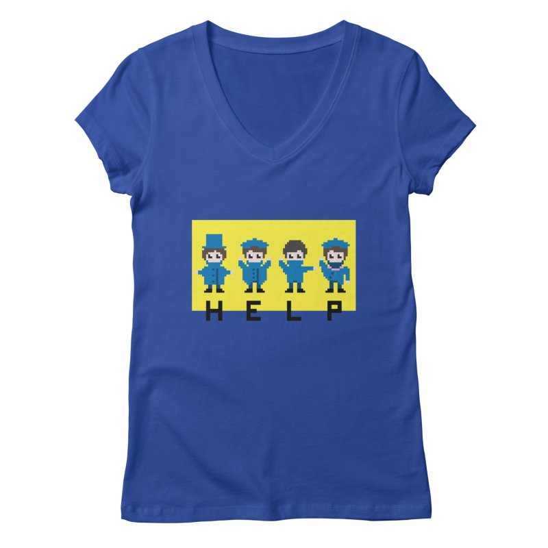 Help! Women's V-Neck by Eu era pop - 8-bit pop culture :)