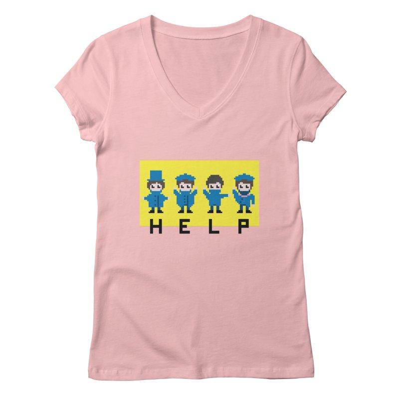 Help! Women's V-Neck by Eu era pop - 8-bit pop culture :)
