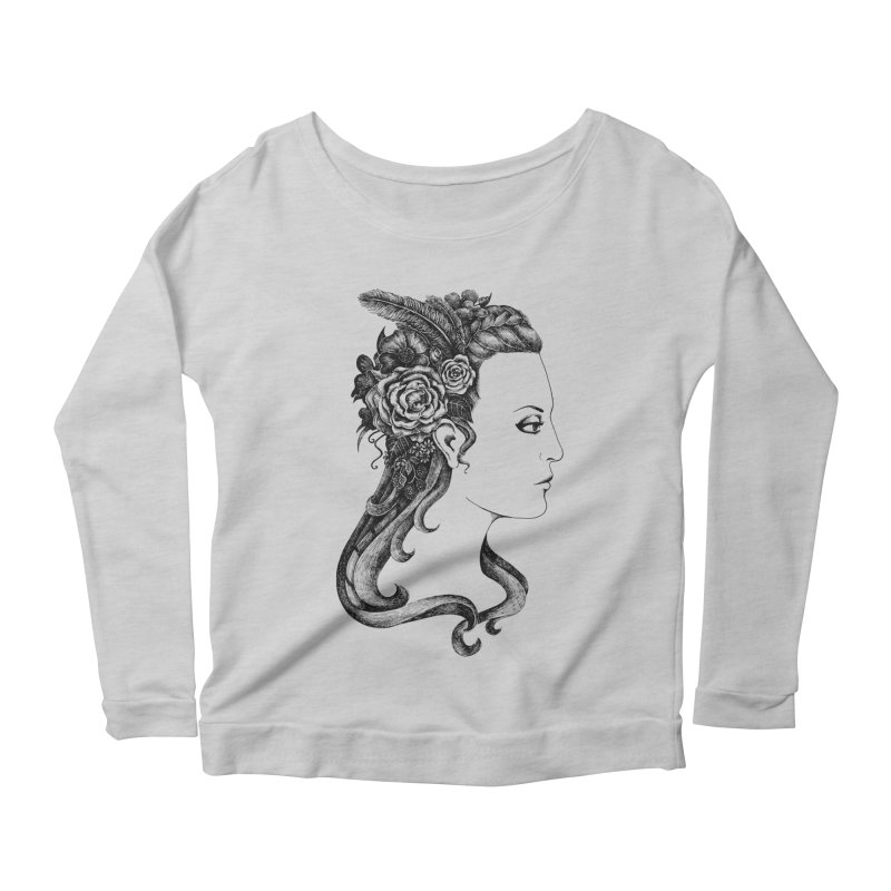 Black And White Beauty Women's Longsleeve Scoopneck  by Eugenia Hauss's | Exiled Beauty