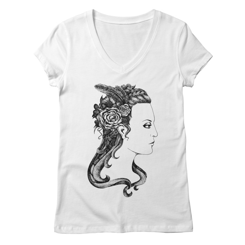 Black And White Beauty Women's V-Neck by Eugenia Hauss's | Exiled Beauty