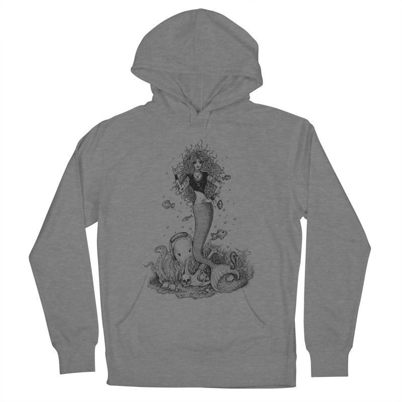 Rocking Mermaid Women's French Terry Pullover Hoody by Eugenia Hauss's | Exiled Beauty