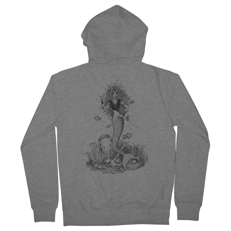 Rocking Mermaid Men's French Terry Zip-Up Hoody by Eugenia Hauss's | Exiled Beauty