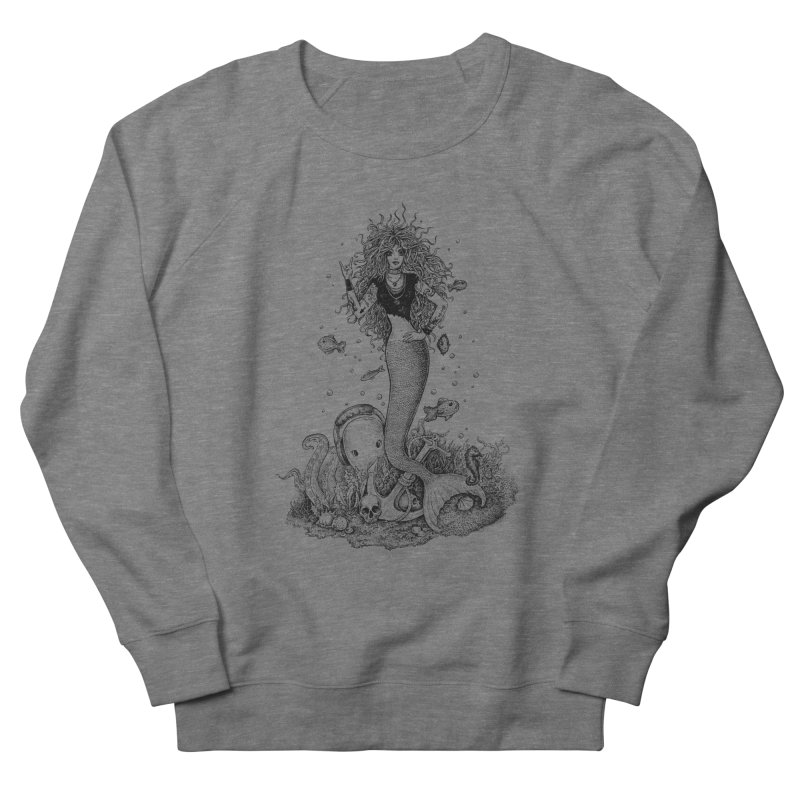 Rocking Mermaid Women's French Terry Sweatshirt by Eugenia Hauss's | Exiled Beauty