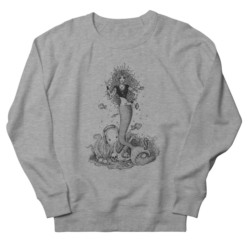 Rocking Mermaid Men's French Terry Sweatshirt by Eugenia Hauss's | Exiled Beauty