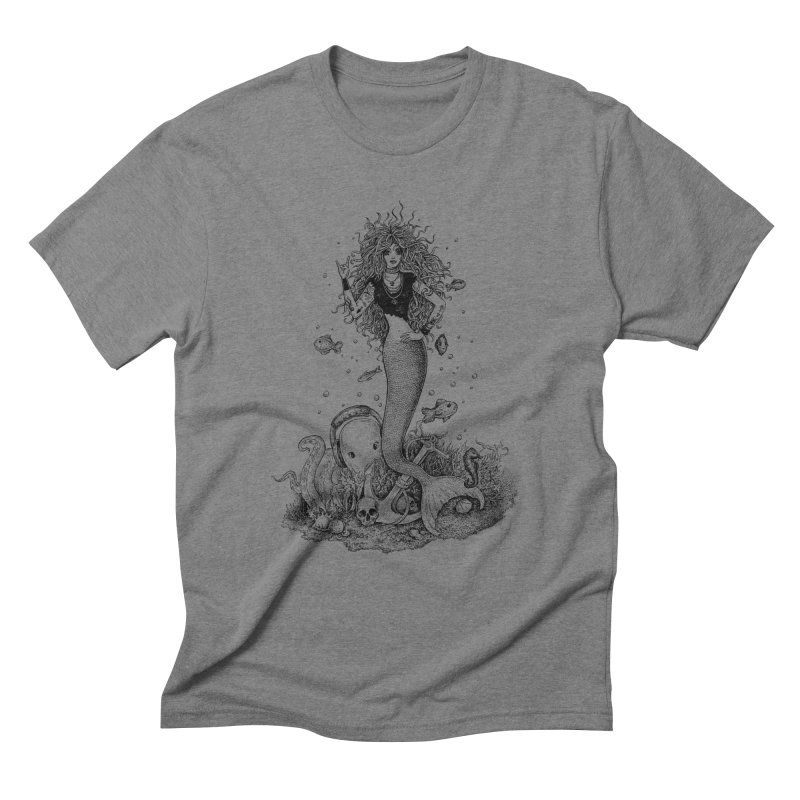 Rocking Mermaid Men's Triblend T-Shirt by Eugenia Hauss's | Exiled Beauty