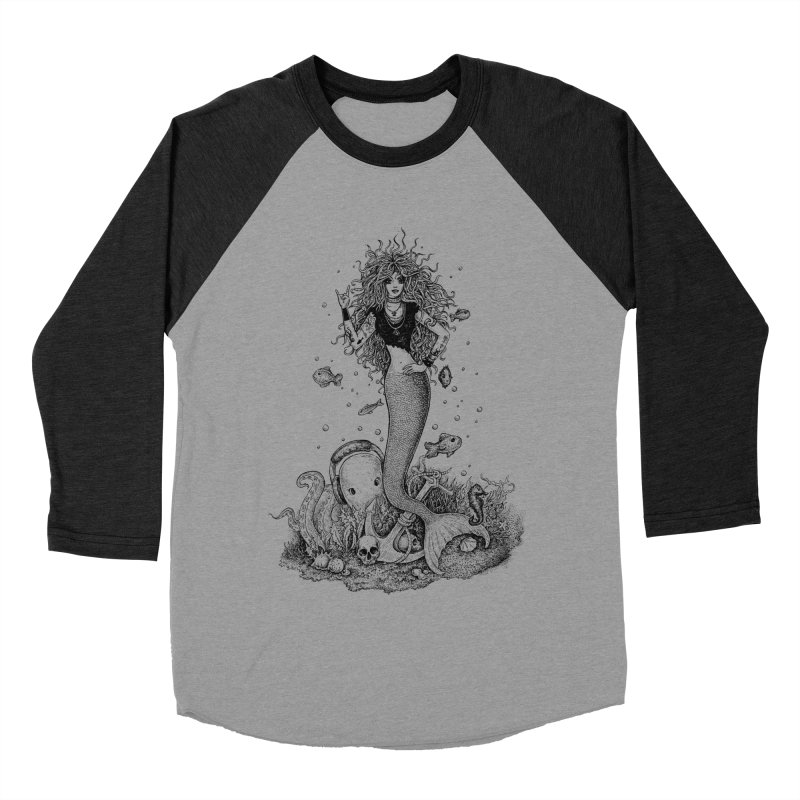 Rocking Mermaid Men's Baseball Triblend T-Shirt by Eugenia Hauss's | Exiled Beauty