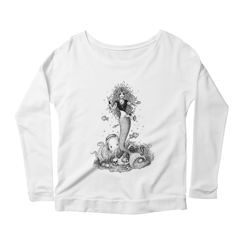 Rocking Mermaid Women's Longsleeve Scoopneck  by Eugenia Hauss's | Exiled Beauty