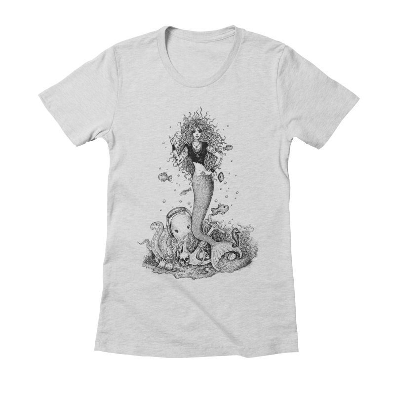 Rocking Mermaid Women's Fitted T-Shirt by Eugenia Hauss's | Exiled Beauty