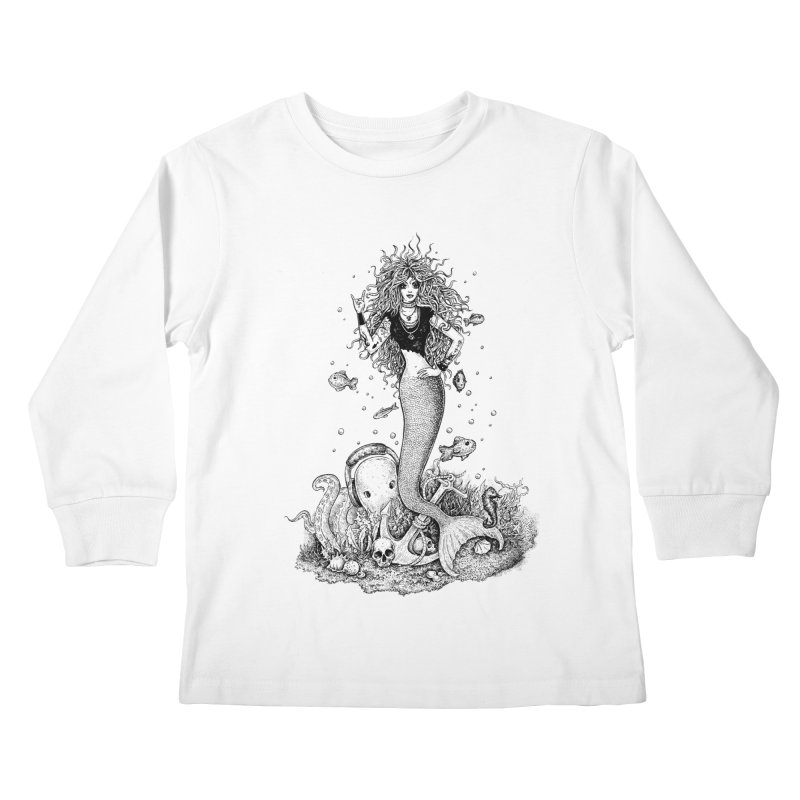 Rocking Mermaid Kids Longsleeve T-Shirt by Eugenia Hauss's | Exiled Beauty