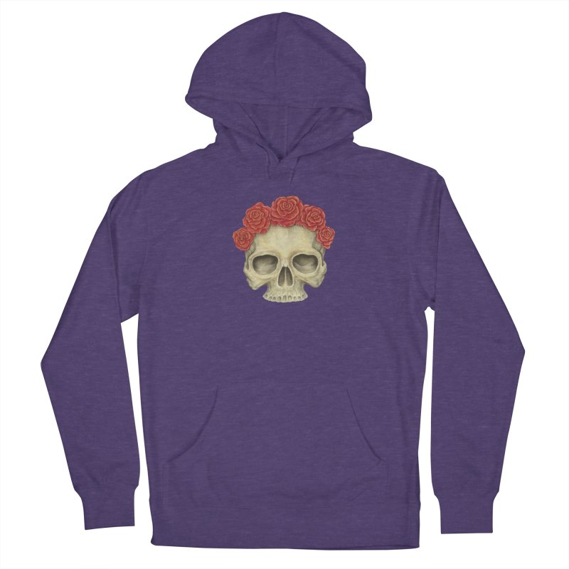 Skull And Roses Women's French Terry Pullover Hoody by Eugenia Hauss's | Exiled Beauty