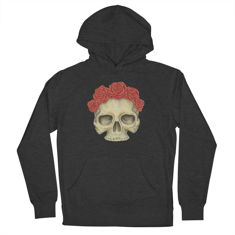 Skull And Roses Men's French Terry Pullover Hoody by Eugenia Hauss's | Exiled Beauty