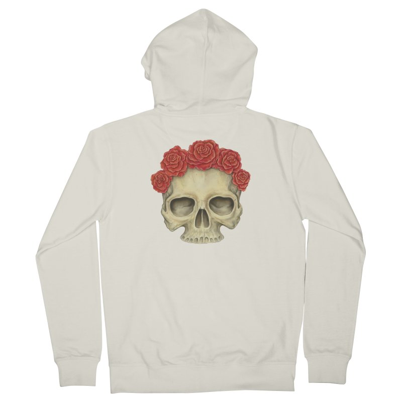 Skull And Roses Women's French Terry Zip-Up Hoody by Eugenia Hauss's | Exiled Beauty