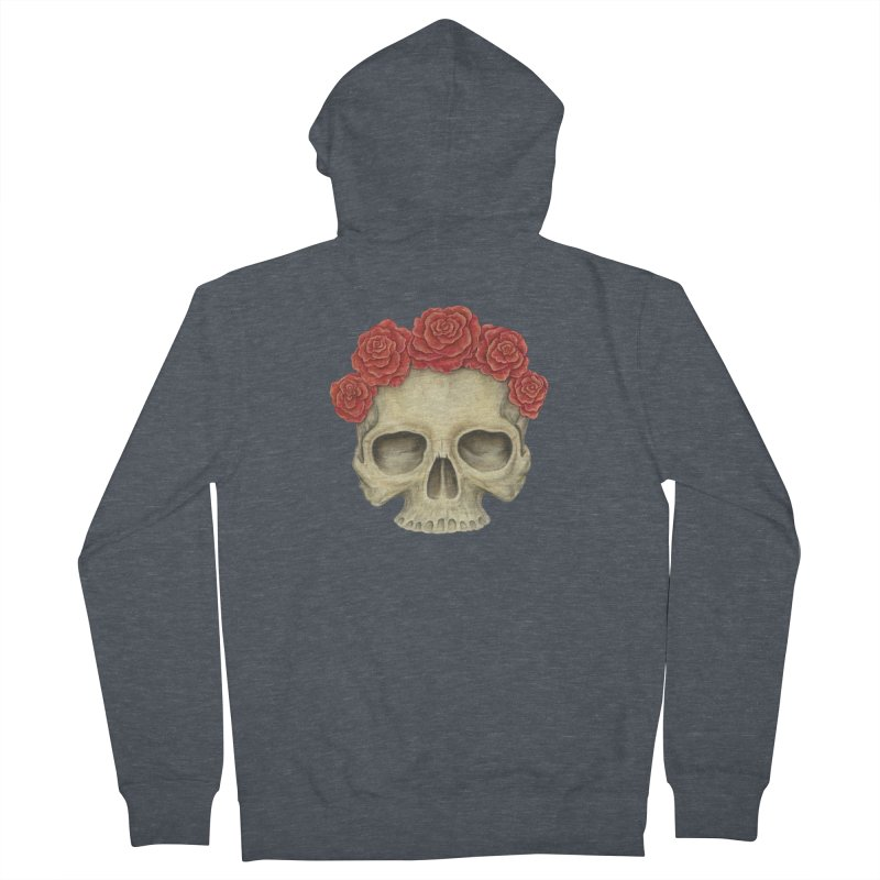 Skull And Roses Men's French Terry Zip-Up Hoody by Eugenia Hauss's | Exiled Beauty