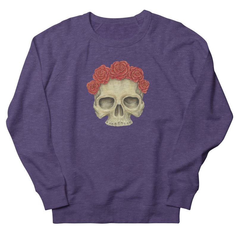 Skull And Roses Women's French Terry Sweatshirt by Eugenia Hauss's | Exiled Beauty
