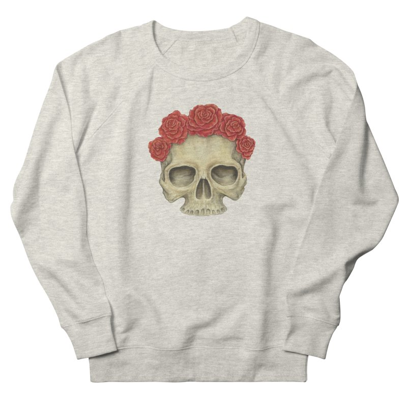 Skull And Roses Men's French Terry Sweatshirt by Eugenia Hauss's | Exiled Beauty