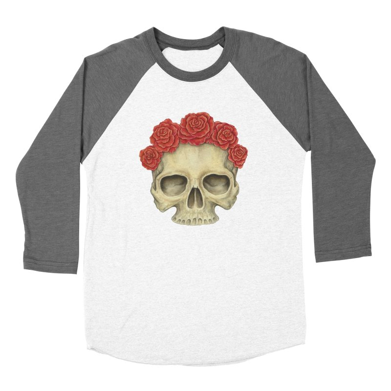 Skull And Roses Women's Baseball Triblend Longsleeve T-Shirt by Eugenia Hauss's | Exiled Beauty