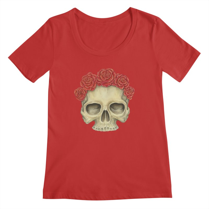 Skull And Roses Women's Regular Scoop Neck by Eugenia Hauss's   Exiled Beauty