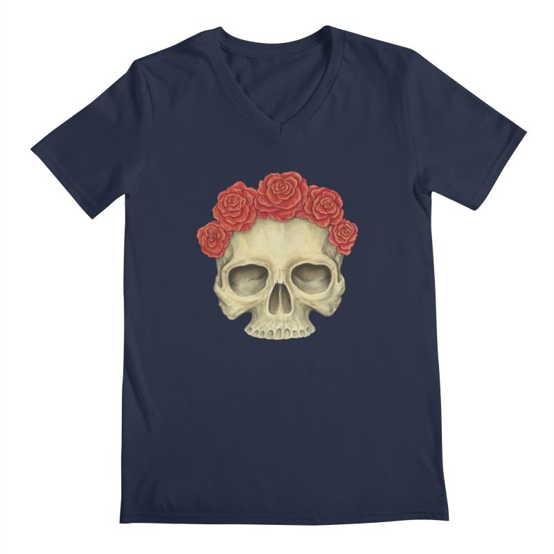 Skull And Roses Men's V-Neck by Eugenia Hauss's | Exiled Beauty