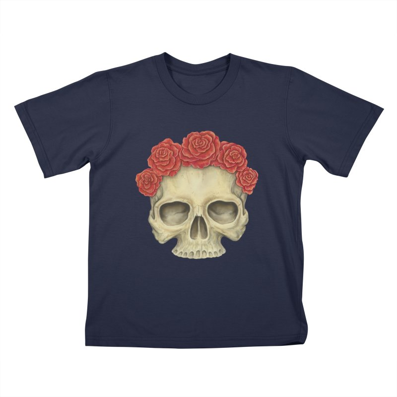 Skull And Roses Kids T-Shirt by Eugenia Hauss's | Exiled Beauty