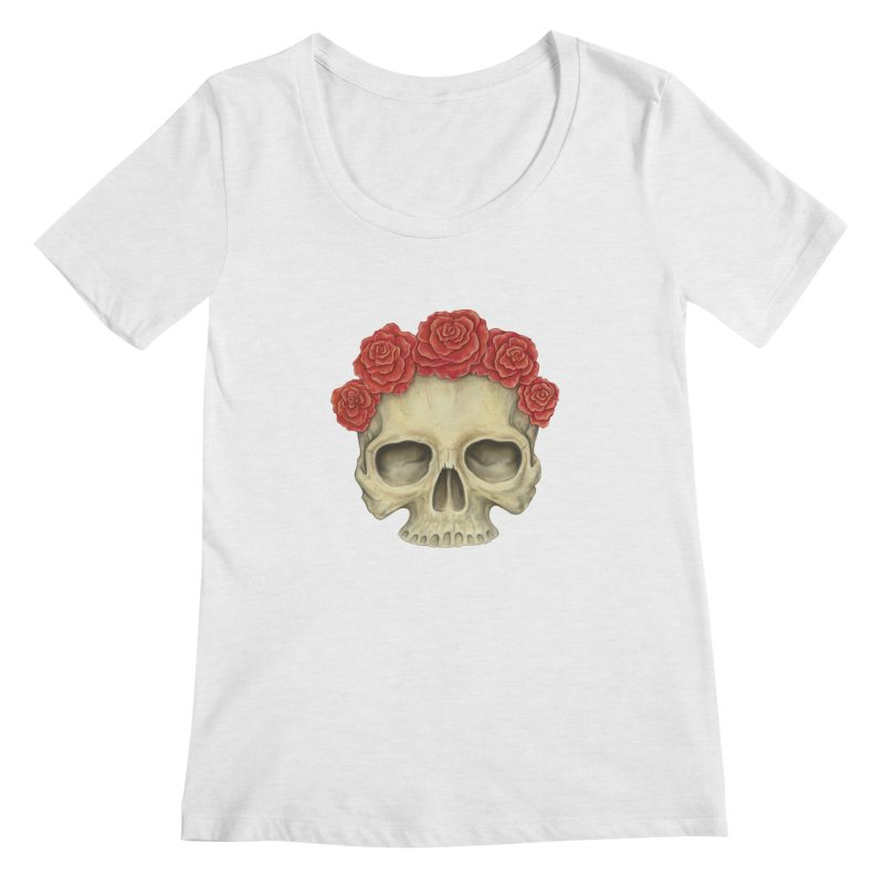 Skull And Roses Women's Regular Scoop Neck by Eugenia Hauss's | Exiled Beauty