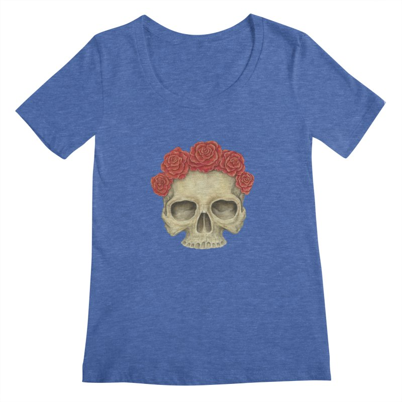Skull And Roses Women's Scoopneck by Eugenia Hauss's   Exiled Beauty