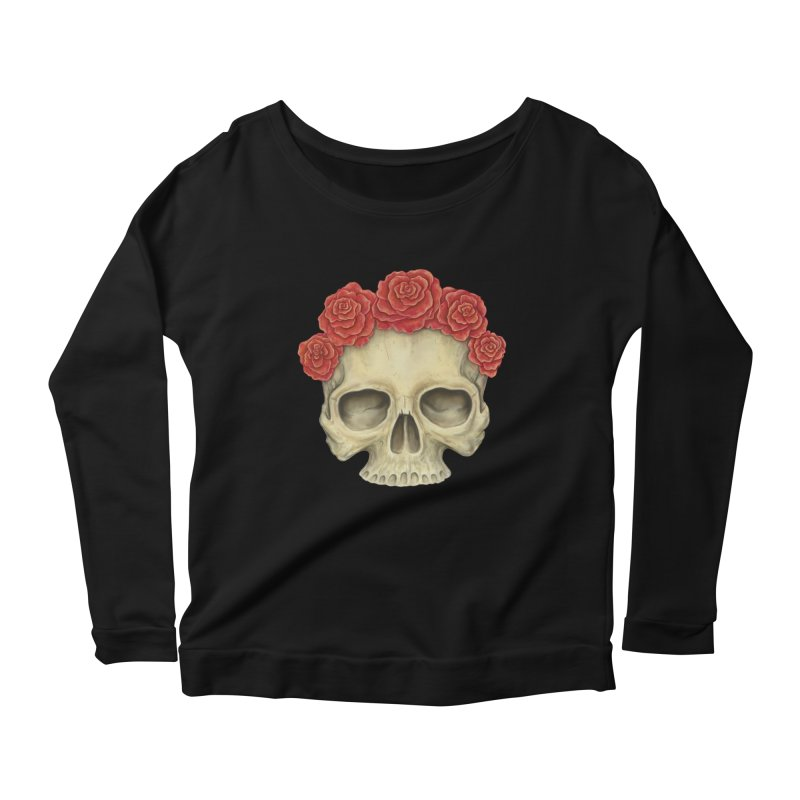 Skull And Roses Women's Scoop Neck Longsleeve T-Shirt by Eugenia Hauss's   Exiled Beauty