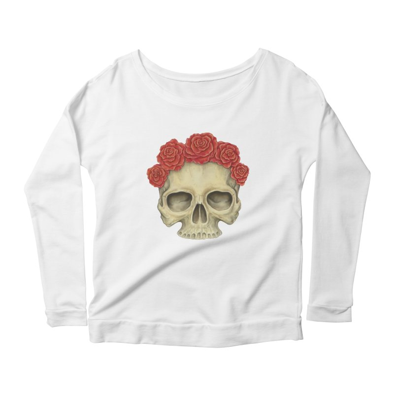 Skull And Roses Women's Scoop Neck Longsleeve T-Shirt by Eugenia Hauss's | Exiled Beauty