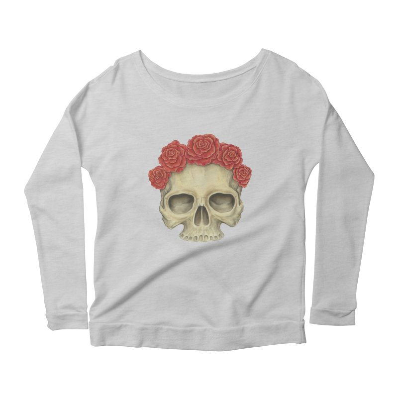 Skull And Roses Women's Longsleeve Scoopneck  by Eugenia Hauss's | Exiled Beauty