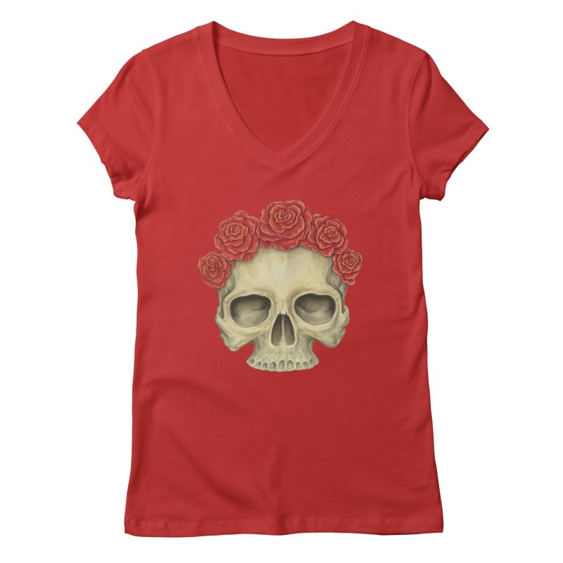 Skull And Roses Women's V-Neck by Eugenia Hauss's | Exiled Beauty