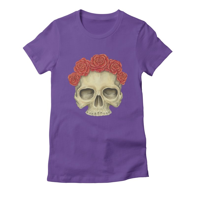 Skull And Roses Women's Fitted T-Shirt by Eugenia Hauss's | Exiled Beauty