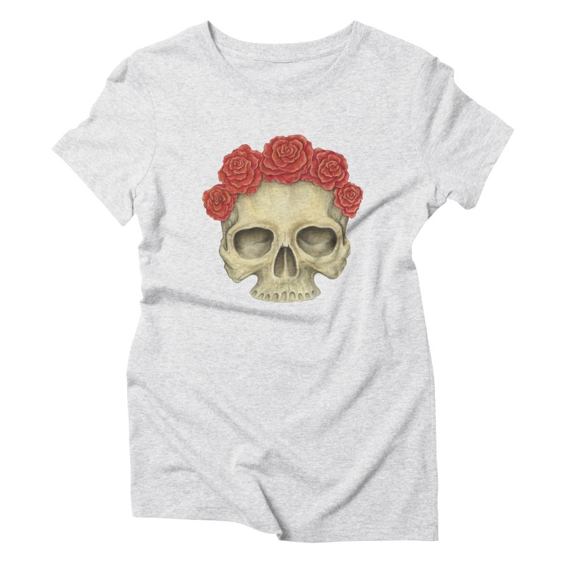 Skull And Roses Women's Triblend T-Shirt by Eugenia Hauss's | Exiled Beauty